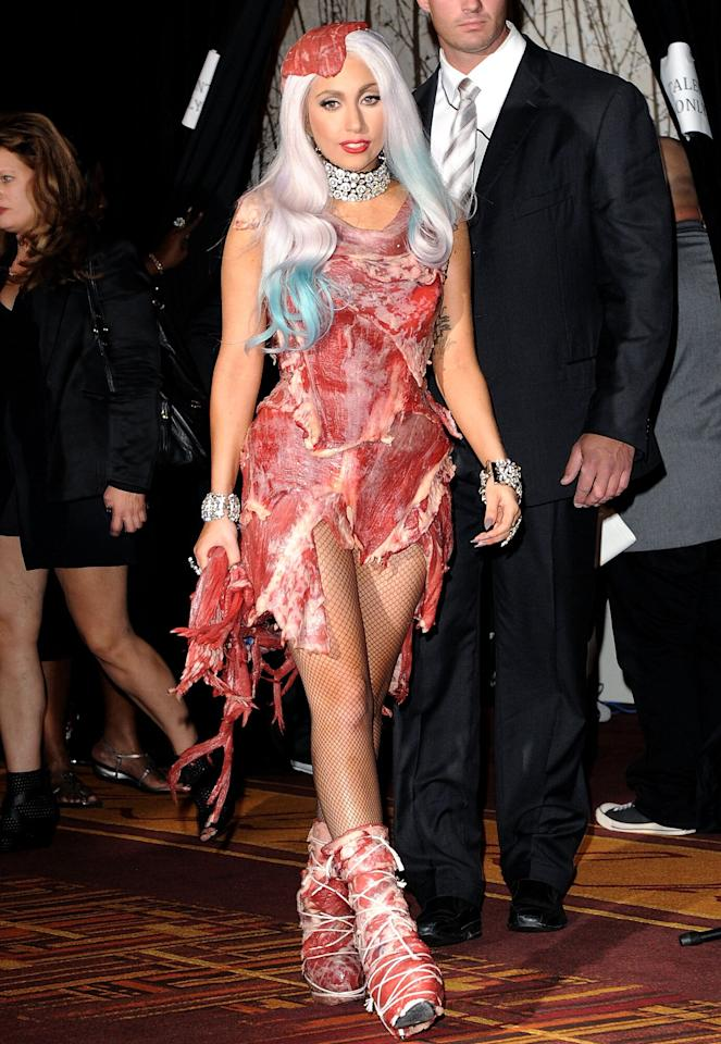 """""""I am not a piece of meat,"""" <a href=""""https://ew.com/article/2010/09/13/ellen-grills-lady-gaga-about-vmas-meat-dress/"""" target=""""_blank"""">she said</a>. A star is born, indeed."""