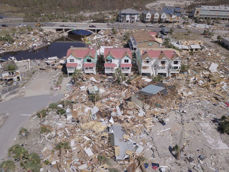 FILE PHOTO: Aerial photo shows damaged and destroyed homes after Hurricane Michael smashed into Florida's northwest coast in Mexico Beach