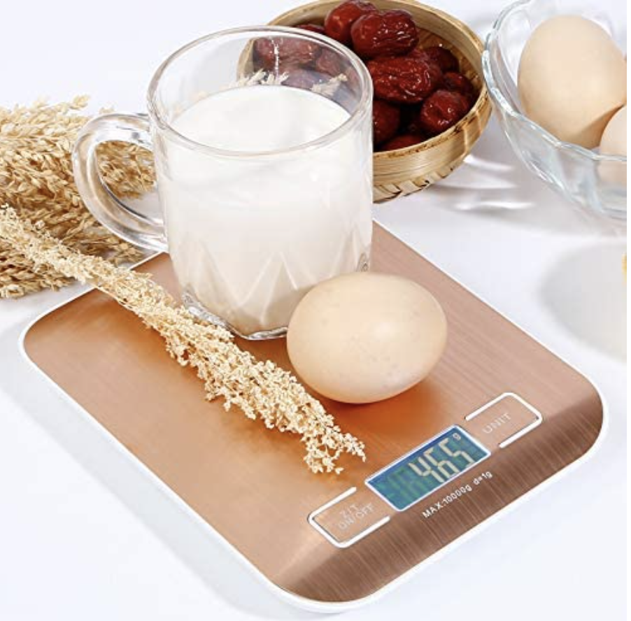 Digital Kitchen Scale, USB Charging, for Cooking Baking, Stainless Steel. PHOTO: Amazon