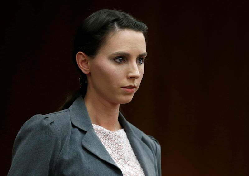 Rachael Denhollander makes a statement during convicted sexual abuser Larry Nassar'ssentencing hearing in Charlotte, Michigan, on Feb. 2, 2018. (Rebecca Cook / Reuters)
