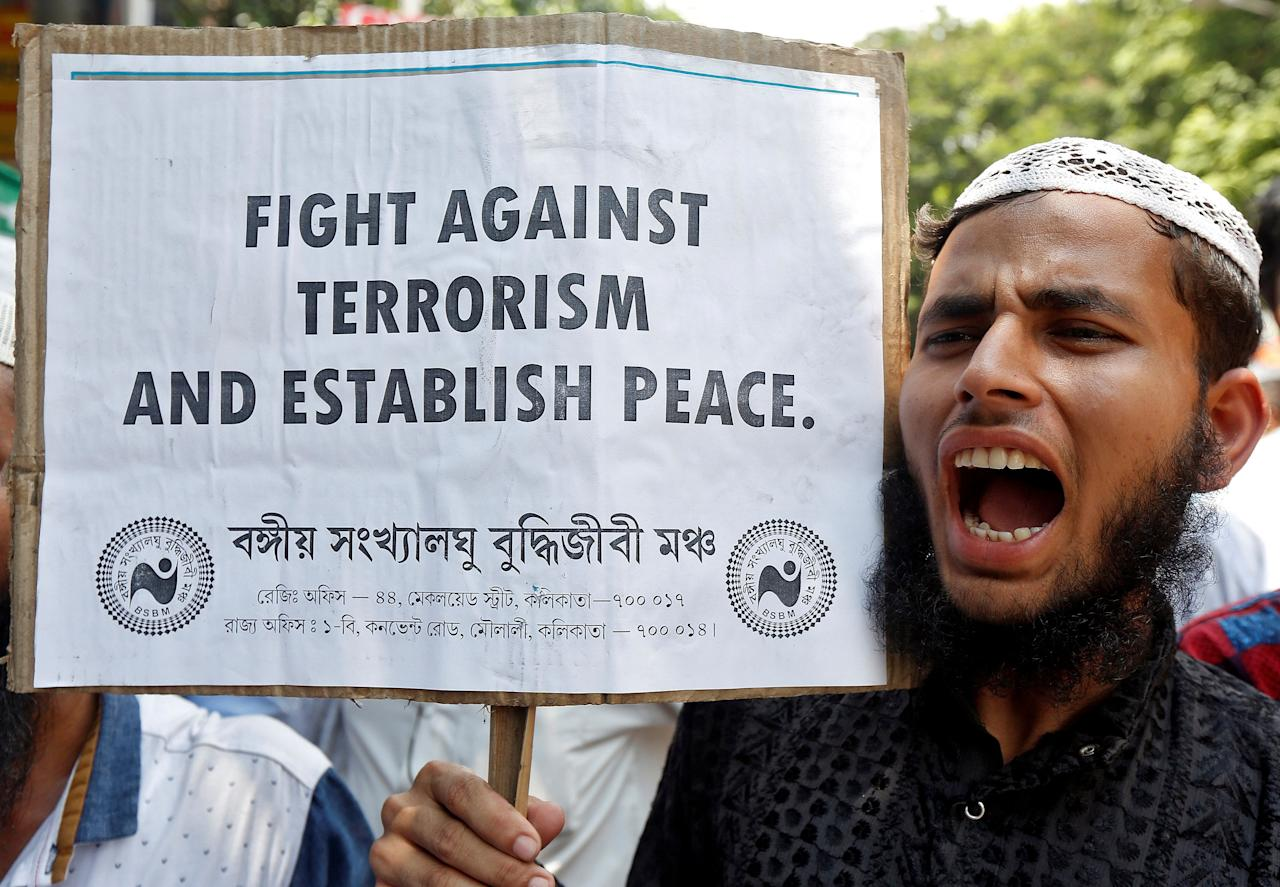 A demonstrator shouts slogans during a protest organised by a Muslim minority forum against terrorism in Kolkata, India, July 28, 2016. REUTERS/Rupak De Chowdhuri