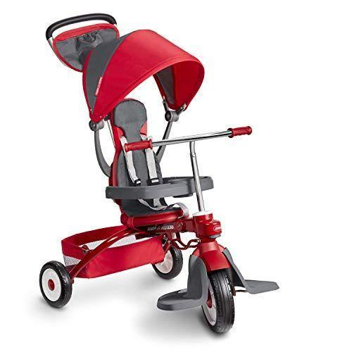 "<p><strong>Radio Flyer</strong></p><p>amazon.com</p><p><strong>$116.34</strong></p><p><a href=""https://www.amazon.com/dp/B07D4D84KJ?tag=syn-yahoo-20&ascsubtag=%5Bartid%7C10055.g.34507465%5Bsrc%7Cyahoo-us"" rel=""nofollow noopener"" target=""_blank"" data-ylk=""slk:Shop Now"" class=""link rapid-noclick-resp"">Shop Now</a></p><p>Parents will love that <strong>this trike grows with a child as young as 9 months through five years old. </strong>Infants can start to explore with parents pushing, then learn to steer, progress to learning to ride, and then into classic trike mode. There are a host of removable included accessories like an adjustable UV canopy, tray, and height adjustable parent push bar.</p><p><strong>Ages:</strong> 9 months - 5 years old<strong><br>Max Weight:</strong> 49 pounds</p>"