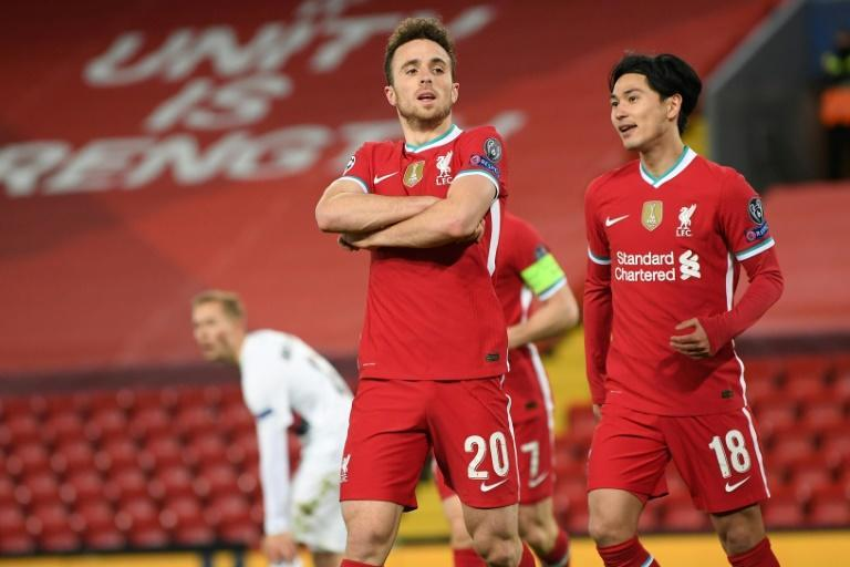 Liverpool forward Diogo Jota celebrates after his goal against Midtjylland at Anfield