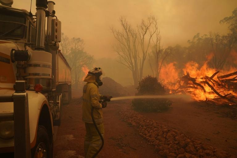 More than 200 firefighters are battling the bushfire which has so far burned almost 10,000 hectares (24,700 acres)