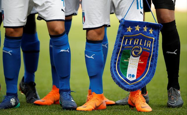 Soccer Football - UEFA European Under-17 Championship Final - Italy vs Netherlands - AESSEAL New York Stadium, Rotherham, Britain - May 20, 2018 General view of Italy's pennant Action Images via Reuters/Carl Recine