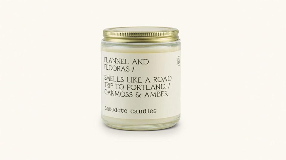 If typical fall scents aren't your thing, go with this forest-inspired candle from Anecdote Candles.