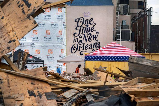 PHOTO: Workers clean up the site of the historic Karnofsky Shop, which collapsed during Hurricane Ida in New Orleans, Sept. 6, 2021. (Kathleen Flynn/Reuters)