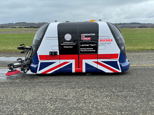 Westfield's AutoSweep POD, the UK's first fully autonomous pure electric road sweeper, featuring LeddarTech's Leddar Pixell.