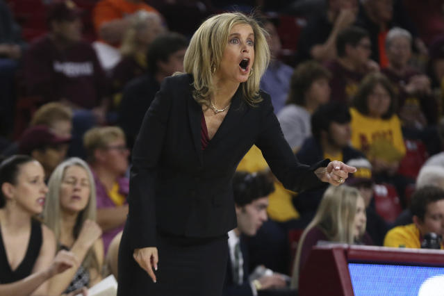 Arizona State head coach Charlie Turner Thorne shouts instructions to her team as they play Oregon State during the first half of an NCAA college basketball game Sunday, Jan. 12, 2020, in Tempe, Ariz. (AP Photo/Darryl Webb)
