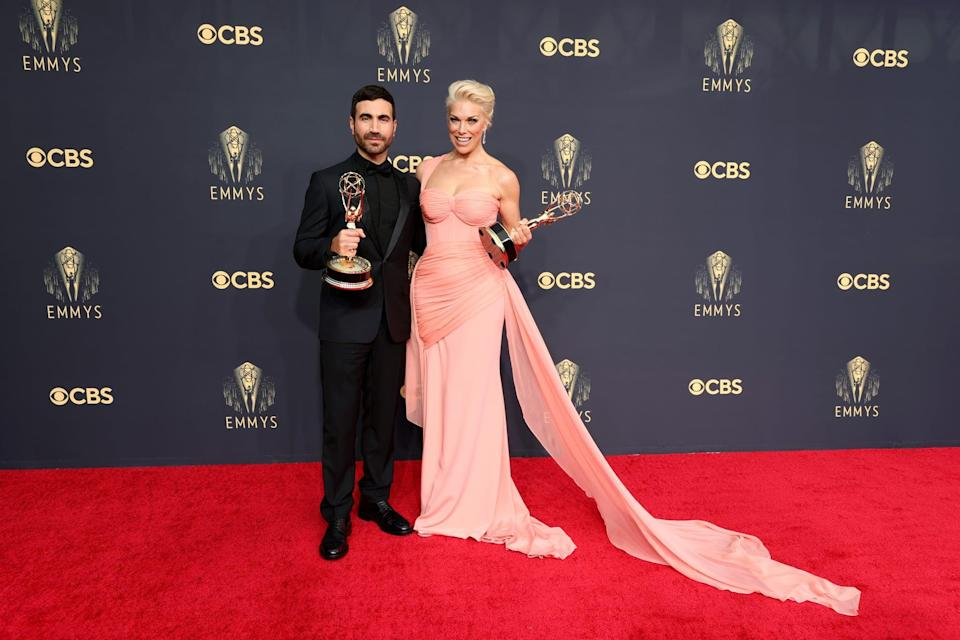 <p>Wearing a Christian Siriano dress, Gianvito Rossi heels, and Anabela Chan jewelry. </p>