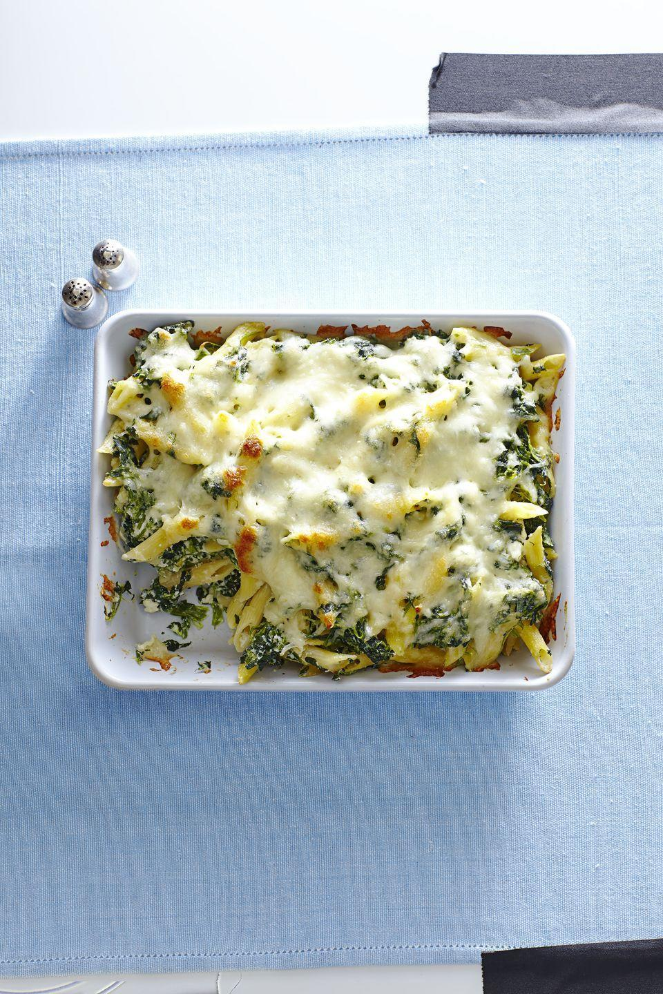 "<p>For a tasty take on the classic spinach pie, swap in pasta for pastry and top with a decadent layer of melty cheese.</p><p><em><a href=""https://www.goodhousekeeping.com/food-recipes/easy/a35780/spanakopita-penne-bake/"" rel=""nofollow noopener"" target=""_blank"" data-ylk=""slk:Get the recipe for Spanakopita Penne Bake »"" class=""link rapid-noclick-resp"">Get the recipe for Spanakopita Penne Bake »</a></em> </p><p><strong>RELATED: </strong><a href=""https://www.goodhousekeeping.com/food-recipes/healthy/g908/vegetarian-recipes/"" rel=""nofollow noopener"" target=""_blank"" data-ylk=""slk:46 Hearty Vegetarian Recipes for the Whole Family"" class=""link rapid-noclick-resp"">46 Hearty Vegetarian Recipes for the Whole Family </a></p>"