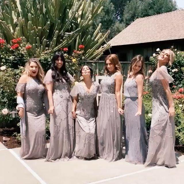 """<p>BFFs Vanessa Hudgens and Ashley Tisdale were side-by-side for Kimberly and Brant Daugherty's wedding in <a href=""""https://people.com/tv/brant-daugherty-weds-kim-hidalgo-california/"""" rel=""""nofollow noopener"""" target=""""_blank"""" data-ylk=""""slk:June 2019"""" class=""""link rapid-noclick-resp"""">June 2019</a>. The <em>High School Musical </em>stars wore intricately beaded gowns with plenty of sparkle.</p><p><a href=""""https://www.instagram.com/p/ByvppKil1DL/?utm_source=ig_embed"""" rel=""""nofollow noopener"""" target=""""_blank"""" data-ylk=""""slk:See the original post on Instagram"""" class=""""link rapid-noclick-resp"""">See the original post on Instagram</a></p>"""