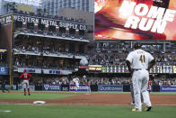 San Diego Padres' Fernando Tatis Jr. rounds second base after hitting a solo home run during sixth inning of a baseball game against the Cincinnati Reds on Thursday, June 17, 2021, in San Diego. (AP Photo/Derrick Tuskan)
