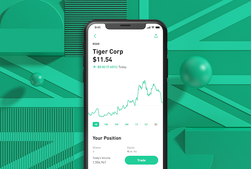 A mock-up of Robinhood's new UK app. Photo: Robinhood
