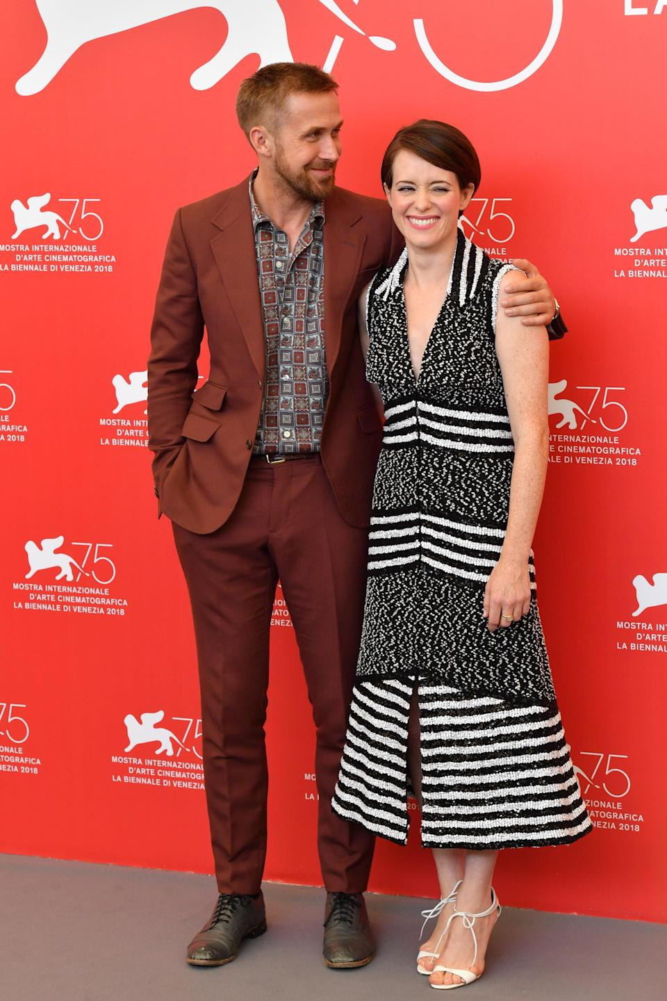 <p>Ryan wore a retro suit, while Claire slipped into a monochrome Chanel number. <em>[Photo: Getty]</em> </p>