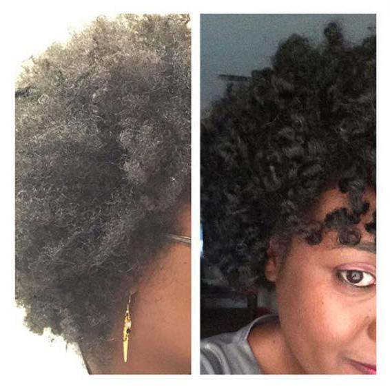 Before and after shot of client with natural hair who used Lubricity Q-Shampoo and Q-Conditioner. (Photo: Facebook/Lubricity Labs)