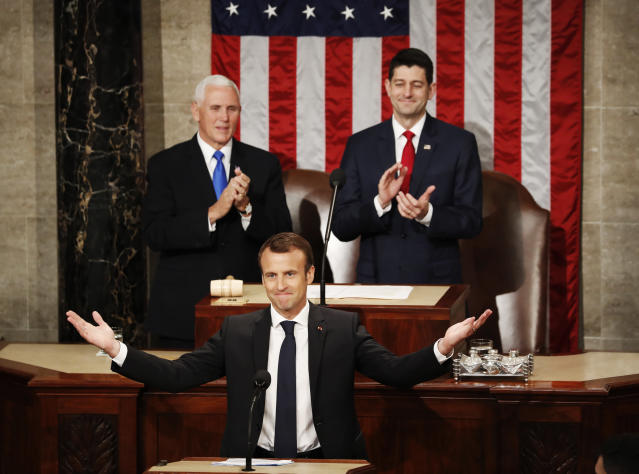 <p>French President Emmanuel Macron gestures as he arrives for his address to a joint meeting of Congress on Capitol Hill in Washington, Wednesday, April 25, 2018. (Photo: Pablo Martinez Monsivais/AP) </p>