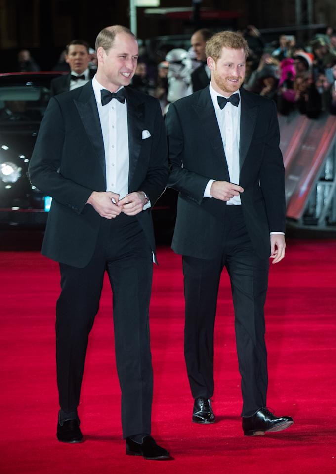 <p>The royal brothers were faced with the Stormtroopers on the red carpet. <i>[Photo: Getty]</i> </p>