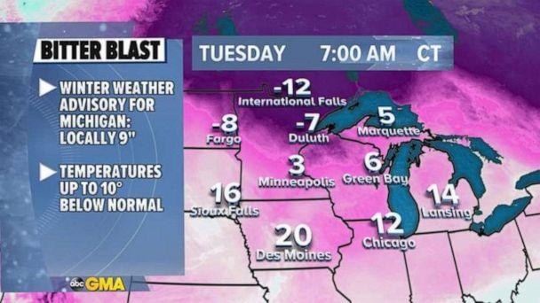 PHOTO: Some of that cold air will move into the Northeast tonight and really spread across the area by the end of the week. (ABC News)