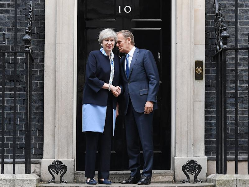 The PM's dealings with European Council President Donald Tusk have left Tory MPs in a relaxed frame of mind: EPA