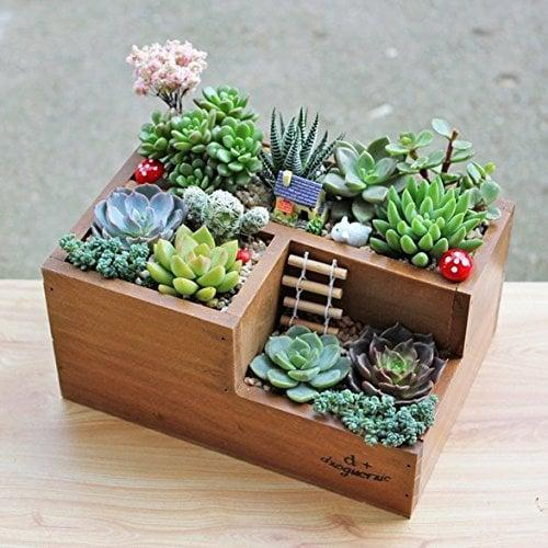 <p>This <span>Chris-Wang Multifunctional 3-Compartment Wooden Desktop Office Supply Caddy</span> ($17) can be a planter or desk organizer - so versatile!</p>