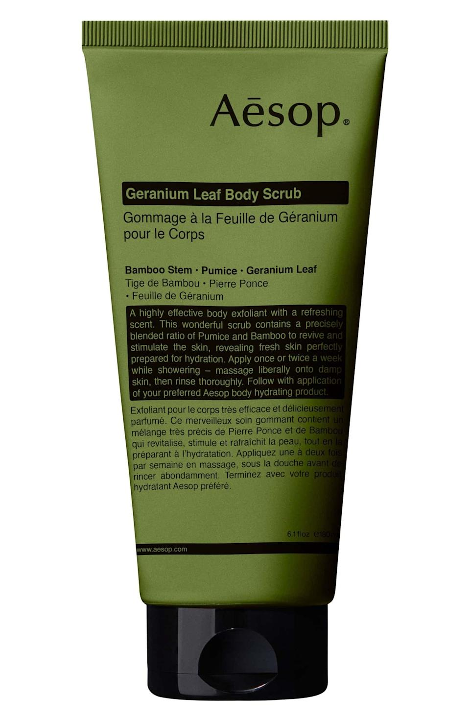 <p>This <span>Aesop Geranium Leaf Body Scrub</span> ($37) smells so delicious and really works to exfoliate, leaving you with seriously soft skin.</p>