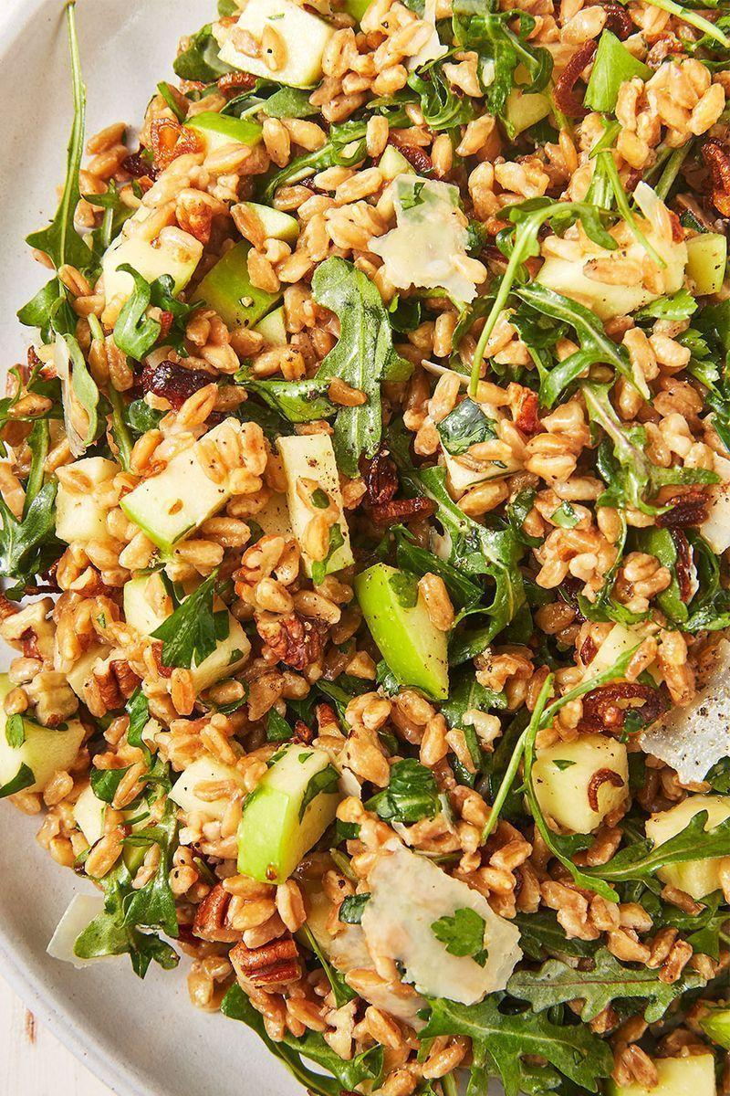 """<p>With nuts, cheese, fruit, and leafy greens, this salad really feels like a full meal—AKA a meal prepper's dream. It makes the perfect not-so-sad desk lunch. Top it with some sliced <a href=""""https://www.delish.com/uk/cooking/recipes/a28841199/best-grilled-chicken-breast-recipe/"""" rel=""""nofollow noopener"""" target=""""_blank"""" data-ylk=""""slk:Grilled Chicken"""" class=""""link rapid-noclick-resp"""">Grilled Chicken</a> or <a href=""""https://www.delish.com/uk/cooking/recipes/a28996578/best-baked-salmon-recipe/"""" rel=""""nofollow noopener"""" target=""""_blank"""" data-ylk=""""slk:Baked Salmon"""" class=""""link rapid-noclick-resp"""">Baked Salmon</a> and you've got yourself a very hearty, very healthy meal.</p><p>Get the <a href=""""https://www.delish.com/uk/cooking/recipes/a29891118/best-farro-salad-recipe/"""" rel=""""nofollow noopener"""" target=""""_blank"""" data-ylk=""""slk:Farro Salad"""" class=""""link rapid-noclick-resp"""">Farro Salad</a> recipe.</p>"""