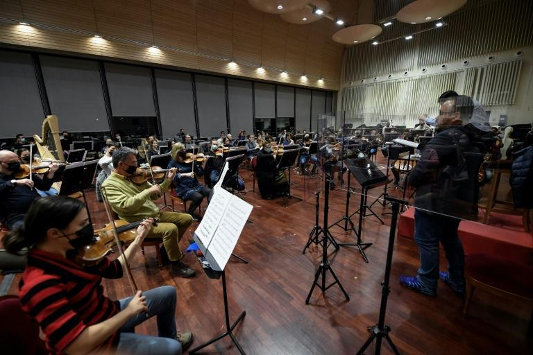 Musicians of the Teatro Real's main orchestra rehearse at the Teatro Real in Madrid on January 14.