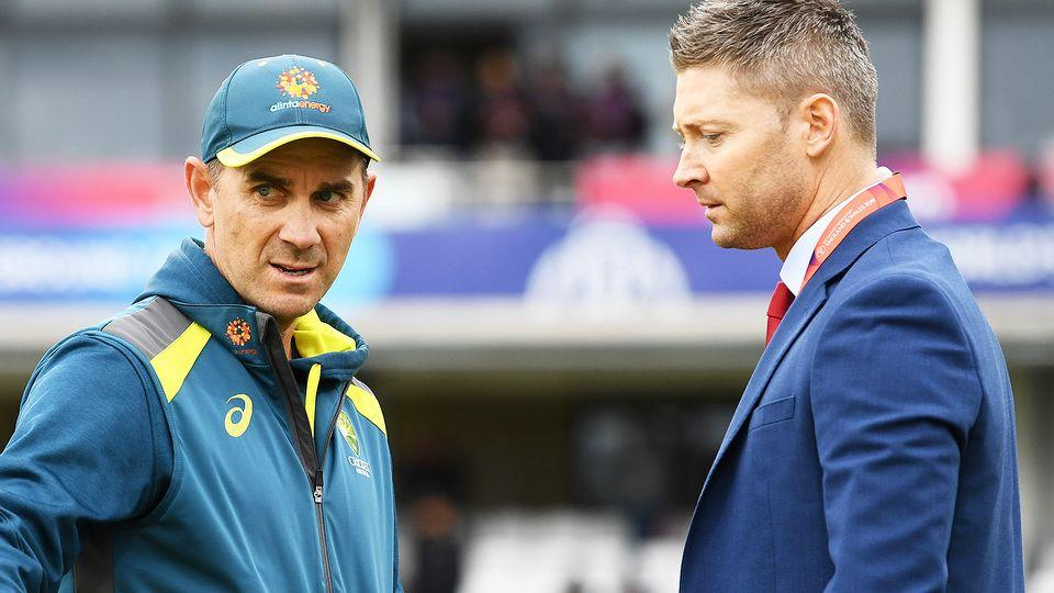 Australian cricket coach Justin Langer and former captain Michael Clarke are seen having a chat together.