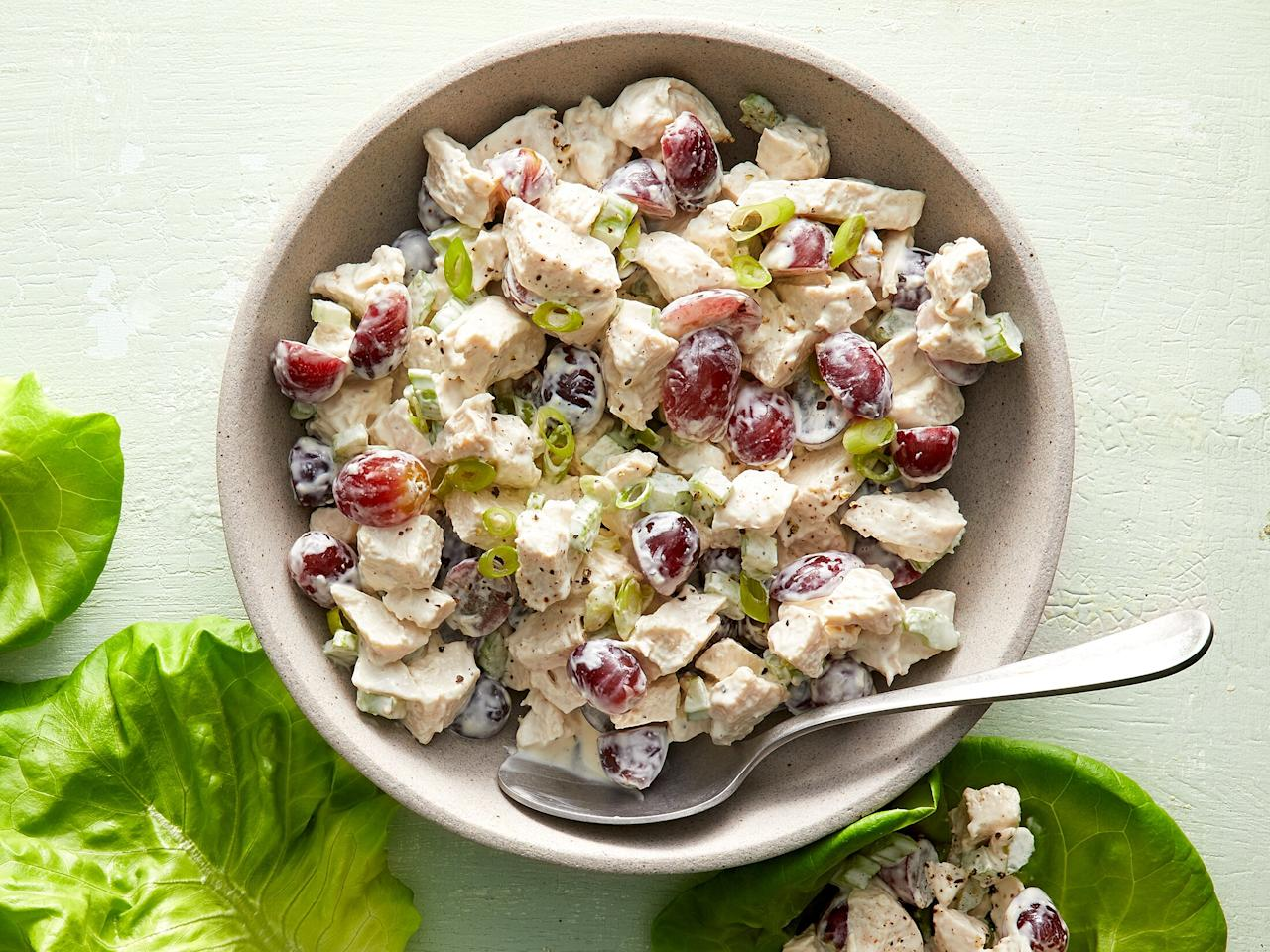 """<p>Sweet red grapes and crunchy celery make this chicken salad sing, and also balance out the slight tang from the yogurt and lemon. But go ahead and customize the mix-ins with whatever you desire (perhaps some chopped nuts or dried fruit) because this chicken salad recipe is easily adaptable. We use rotisserie chicken (look for unseasoned to keep sodium in check!) to simplify things, but any leftover cooked chicken will work.</p> <p> <a href=""""https://www.cookinglight.com/recipes/chicken-salad-with-grapes"""">View Recipe: Tangy Chicken Salad With Grapes</a></p>"""