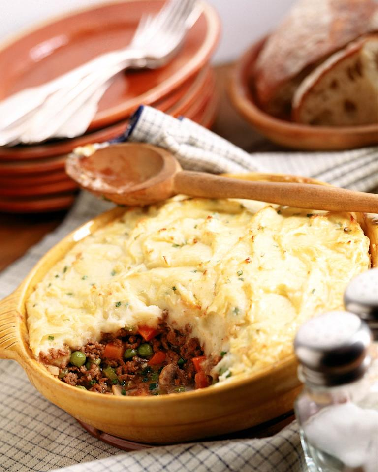 <p>Shepherd's pie is a dish that originated in Ireland and the UK but has made its way worldwide now. Traditional shepherd's pie is made with ground lamb and vegetables and covered with mashed potatoes before being baked in a casserole dish.</p>