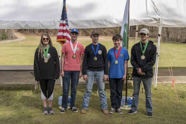 The top five winners of the competition, from left: Hannah Stevens (fourth place), Sawyer Williams (third place), Cole Cook (first place), Josh Drexler (second place), Nicholas Rinberger (fifth place). (Photo: Ben Rollins for Yahoo News)