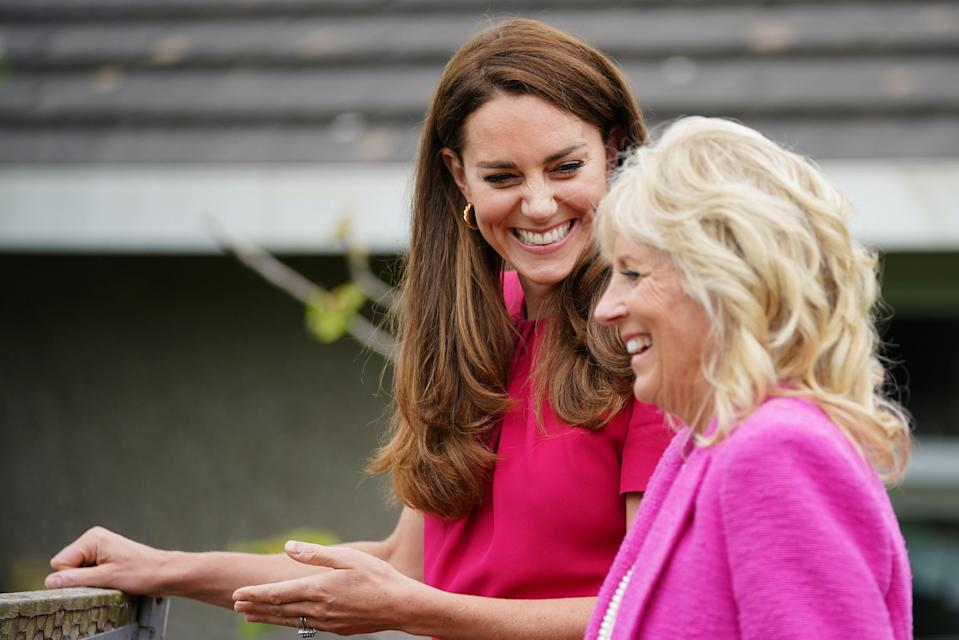 """<p class=""""body-dropcap"""">While the G7 Summit now is underway in Cornwall, the Duchess of Cambridge and First Lady Dr. Jill Biden got to spend the day in the English county. The pair, both advocates for early childhood education, visited the primary school Connor Downs Academy in Hayle, West Cornwall. There, they participated in an expert-led roundtable discussion about early childhood learning, visited some of the school's classes and participated in a few activities with the students. The First Lady even brought carrots for the school rabbit! <br></p><p>Below, find all the best photos from the First Lady and the Duchess of Cambridge's day, spent with both children and educational experts. </p>"""