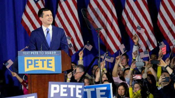 PHOTO: Democratic presidential candidate and former South Bend Mayor Pete Buttigieg speaks to supporters at his New Hampshire primary night rally in Nashua, N.H., Feb. 11, 2020. (Brendan Mcdermid/Reuters)