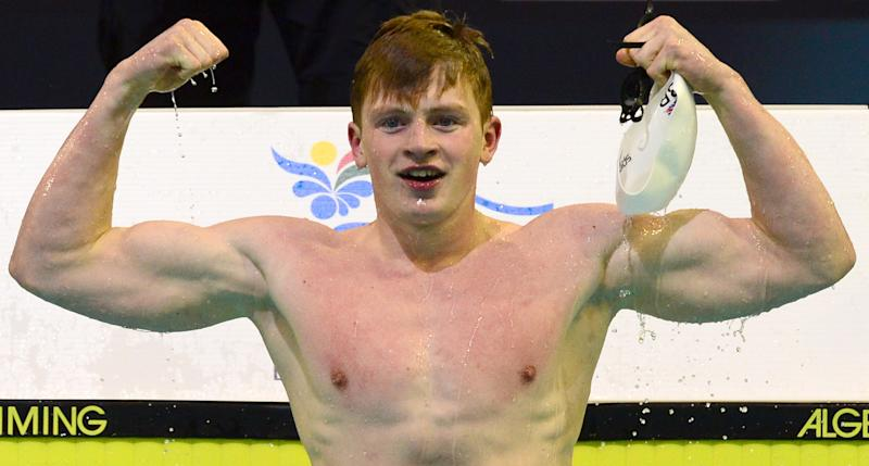 Britain's Adam Peaty celebrates after he sets a new 50m breaststroke world record in the men's 50m Breaststroke semifinal of the 32nd LEN European Swimming Championships on August 22, 2014 in Berlin