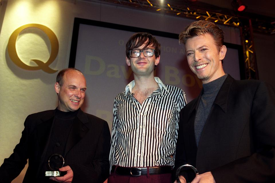 Brian Eno, Jarvis Cocker and David Bowie at the 1995 Q Music Awards. (Photo by Sean Dempsey - PA Images/PA Images via Getty Images)