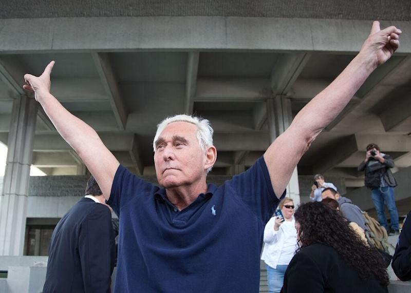 Roger Stone outside a courthouse in Fort Lauderdale, Florida, in 2019.