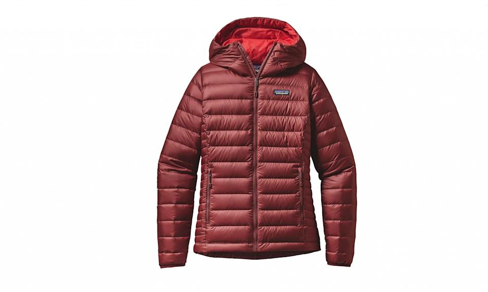 "<p>Women's Down Sweater Hoody, $279, <a href=""http://www.patagonia.com/product/womens-down-sweater-hoody/84711.html?dwvar_84711_color=DFTG&cgid=womens-jackets-vests#tile-6=&start=1&sz=24"" rel=""nofollow noopener"" target=""_blank"" data-ylk=""slk:Patagonia.com"" class=""link rapid-noclick-resp"">Patagonia.com</a> </p>"