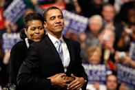 <p>When she hugged him from behind at a rally in New Hempshire in 2008. [Getty /Win McNamee]</p>