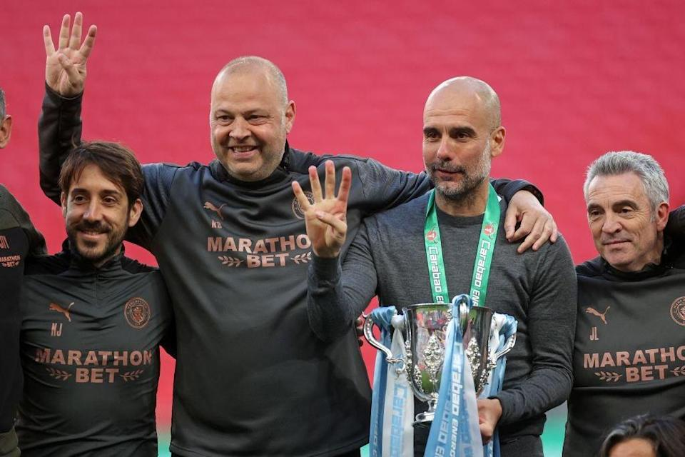 <p>Pep Guardiola won his 30th  major title of an illustrious career</p> (POOL/AFP via Getty Images)