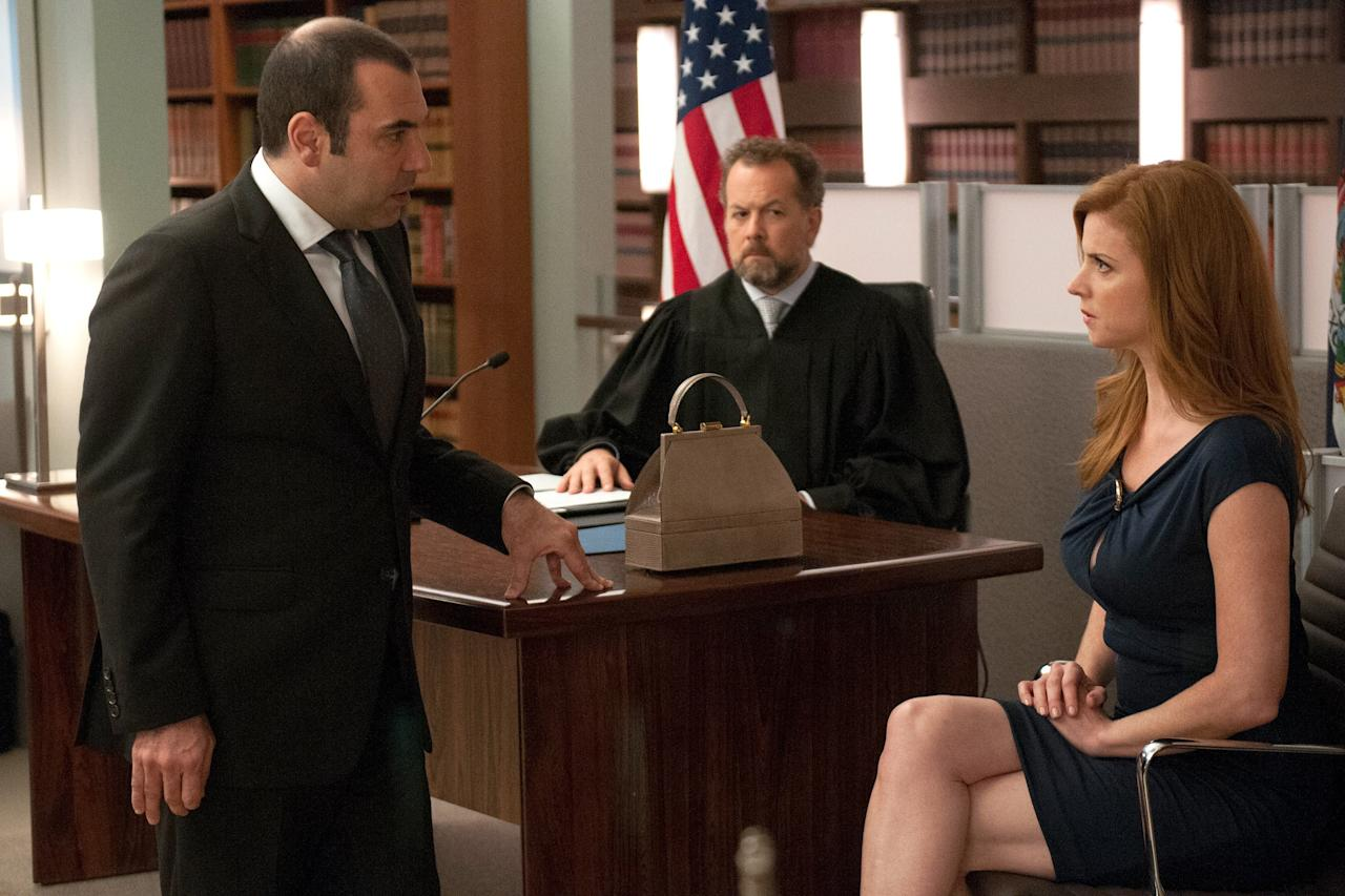 """When <em>The Good Wife</em> pitted its characters against one another in a mock trial in season 4, it led to one of the series' best episodes, and the same can be said of <em>Suits</em>. """"Sucker Punch"""" features an emotionally fraught <a href=""""https://www.youtube.com/watch?v=Y5tFxTw-YqM"""">mock trial</a> that puts the firm's relationships under a microscope, examining how the partners feel about Harvey, Harvey (Gabriel Macht) and Louis' (Rick Hoffman) relationship,and Harvey and Donna's (Sarah Rafferty) relationship. As a bonus, Macht's real life wife Jacinda Barrett also guest-stars."""