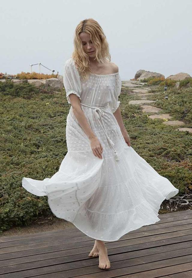 Open-shoulder white prairie dress. (Photo: Dôen)