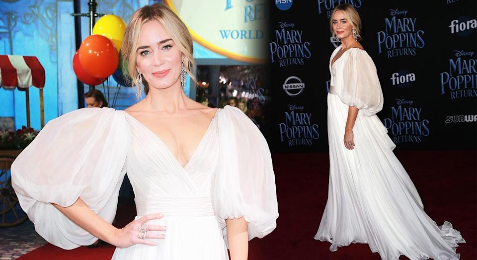 Emily Blunt wore a Yanina Couture gown on the red carpet. [Photo: Getty]