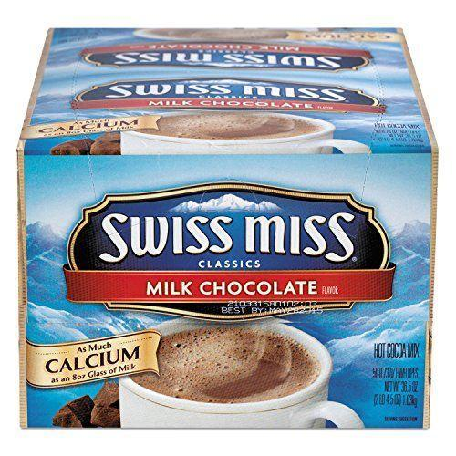 """<p><strong>Swiss Miss</strong></p><p>amazon.com</p><p><strong>$12.40</strong></p><p><a href=""""https://www.amazon.com/dp/B002XJKU7O?tag=syn-yahoo-20&ascsubtag=%5Bartid%7C2164.g.36792766%5Bsrc%7Cyahoo-us"""" rel=""""nofollow noopener"""" target=""""_blank"""" data-ylk=""""slk:Shop Now"""" class=""""link rapid-noclick-resp"""">Shop Now</a></p><p>If you're looking for a no-fuss hot chocolate mix, this Swiss Miss box of 50 packets belongs in your shopping cart. While this classic milk chocolate version doesn't come with any extras, it's the perfect blank slate for add-ins like marshmallows! </p>"""