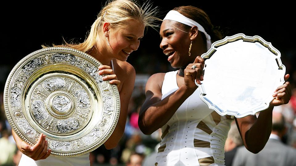 Maria Sharapova, pictured here after beating Serena Williams to win Wimbledon in 2004.
