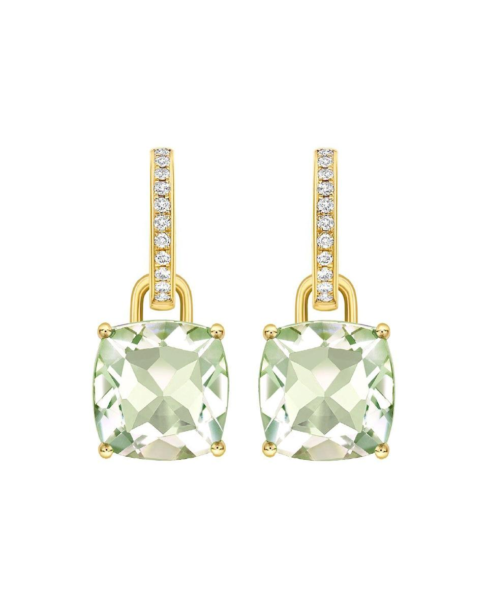 """<p><strong>Kiki McDonough</strong></p><p>https://www.neimanmarcus.com</p><p><strong>$2090.00</strong></p><p><a href=""""https://go.redirectingat.com?id=74968X1596630&url=https%3A%2F%2Fwww.neimanmarcus.com%2Fp%2Fkiki-mcdonough-kiki-classics-18k-gold-diamond-green-amethyst-earrings-prod237760058&sref=https%3A%2F%2Fwww.townandcountrymag.com%2Fstyle%2Ffashion-trends%2Fg10344923%2Fkate-middleton-favorite-fashion-brands-designers%2F"""" rel=""""nofollow noopener"""" target=""""_blank"""" data-ylk=""""slk:Shop Now"""" class=""""link rapid-noclick-resp"""">Shop Now</a></p><p>The royal has multiple pairs of the jeweler's detachable drop earrings with gemstones including citrine and amethyst.</p>"""