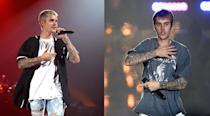 <p>The young Prince of Pop debuted noticeably darker locks during his 'Purpose World Tour' in Italy, ahead of the AMA's. <i>(Photos: Getty Images/November 2016) </i> </p>