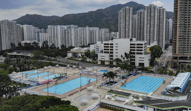 Aerial view of the Tuen Mun Swimming Pool. The Leisure and Cultural Services Department has announced the shutting down of all sports centres, public swimming pools, museums, and libraries from Tuesday until further notice. Photo: Roy Issa