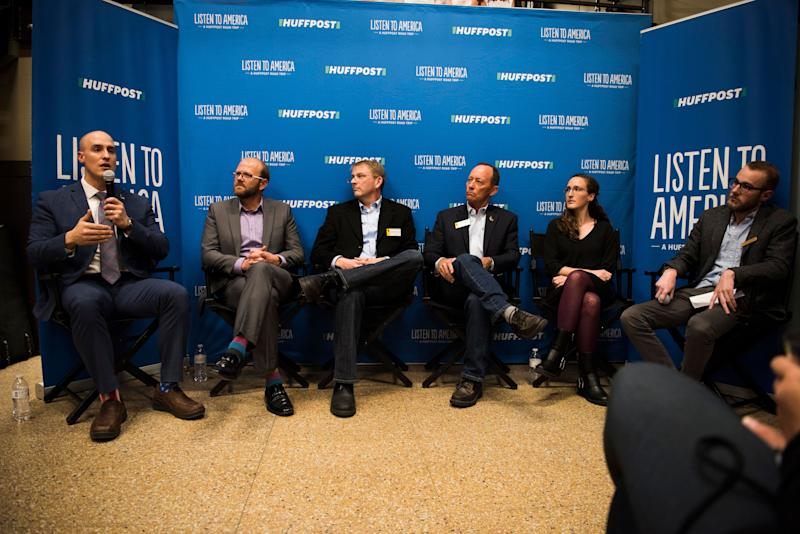 "Moderator Seth Klamann, along with panelists Dicky Shanor, Dirk Andrews, Chris Rothfuss, Bill Landen and Rachael Schuh, take part in the event ""When the Money Runs Out: Funding Schools in a Post-Bust Economy"" at Frontier Brewing and Taproom on Oct. 13, 2017."