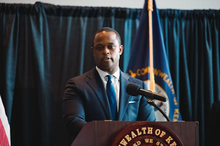 Kentucky Attorney General Daniel Cameron speaks during a press conference on Sept. 23, 2020 in Frankfort, Ky. (Jon Cherry/Getty Images)